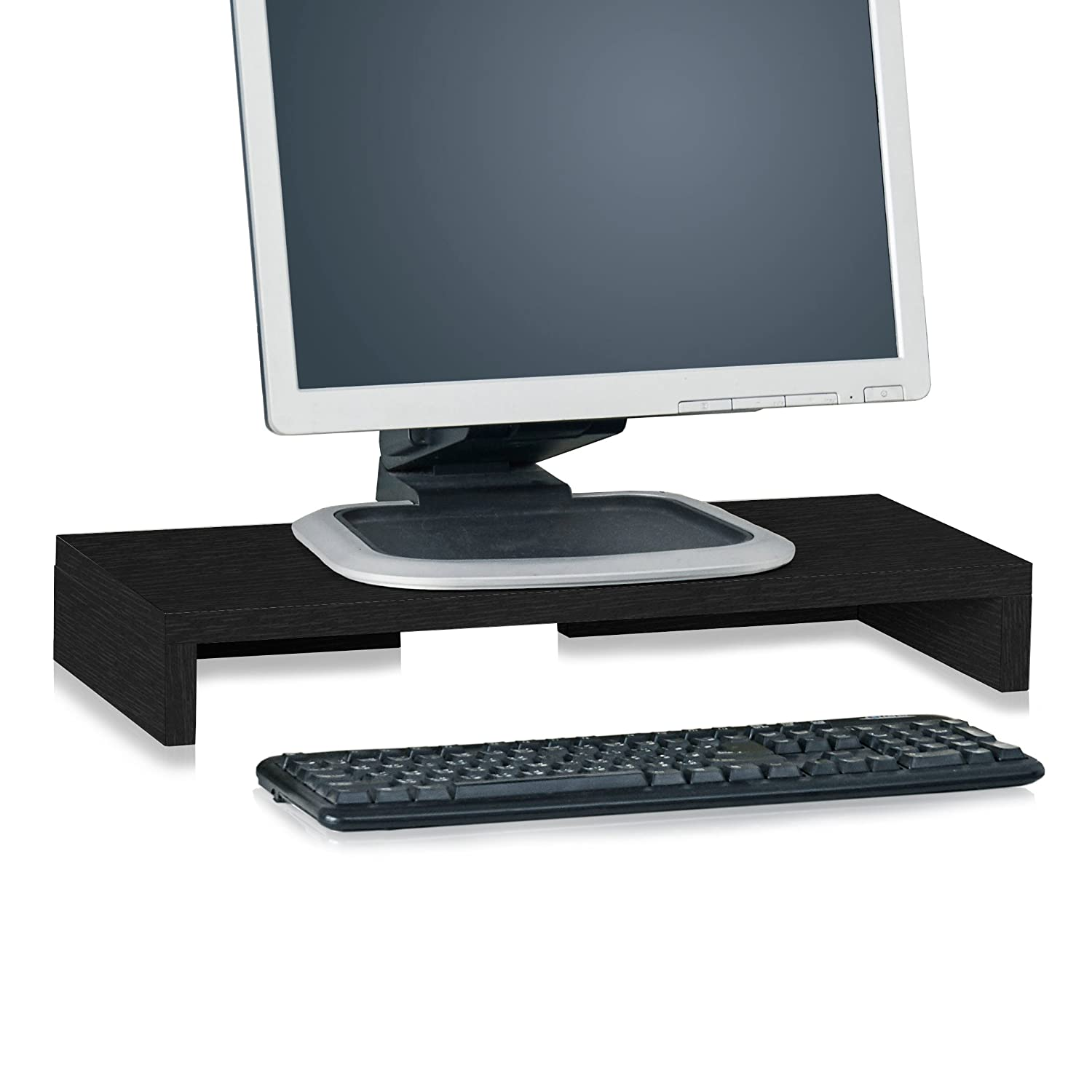 Way Basics Computer Monitor Stand, TV PC Laptop Computer Screen Stand Riser, Desktop Stand Storage Organizer 9.8 L x 19.7 W x 3.1 H, Black (Made from eco-Friendly Non Toxic zBoard paperboard)