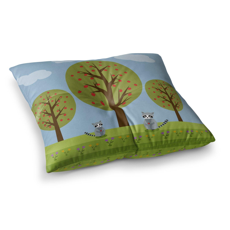 KESS InHouse Cristina Bianco Design Cute Raccoons and Apple Trees Green Blue Illustration Square Floor Pillow x 26 CB2053ASF02
