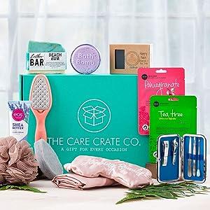 Women's Spa Day Gift Box - Gift Box for Women - Happy Face Soap, Beach Bum Soap, Revele Manicure Set, Eos Shea Butter Hand Cream & Lip Balm