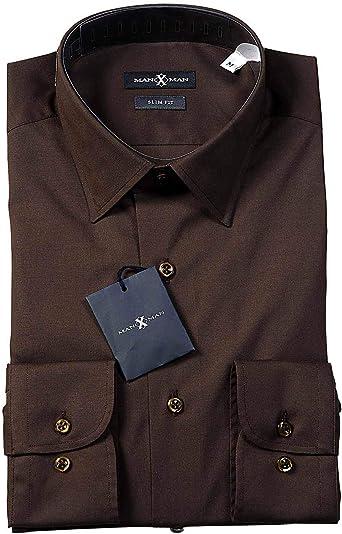 MAX X MAN - Camisa Casual - Liso - Manga Larga - para Hombre marrón 41: Amazon.es: Ropa y accesorios