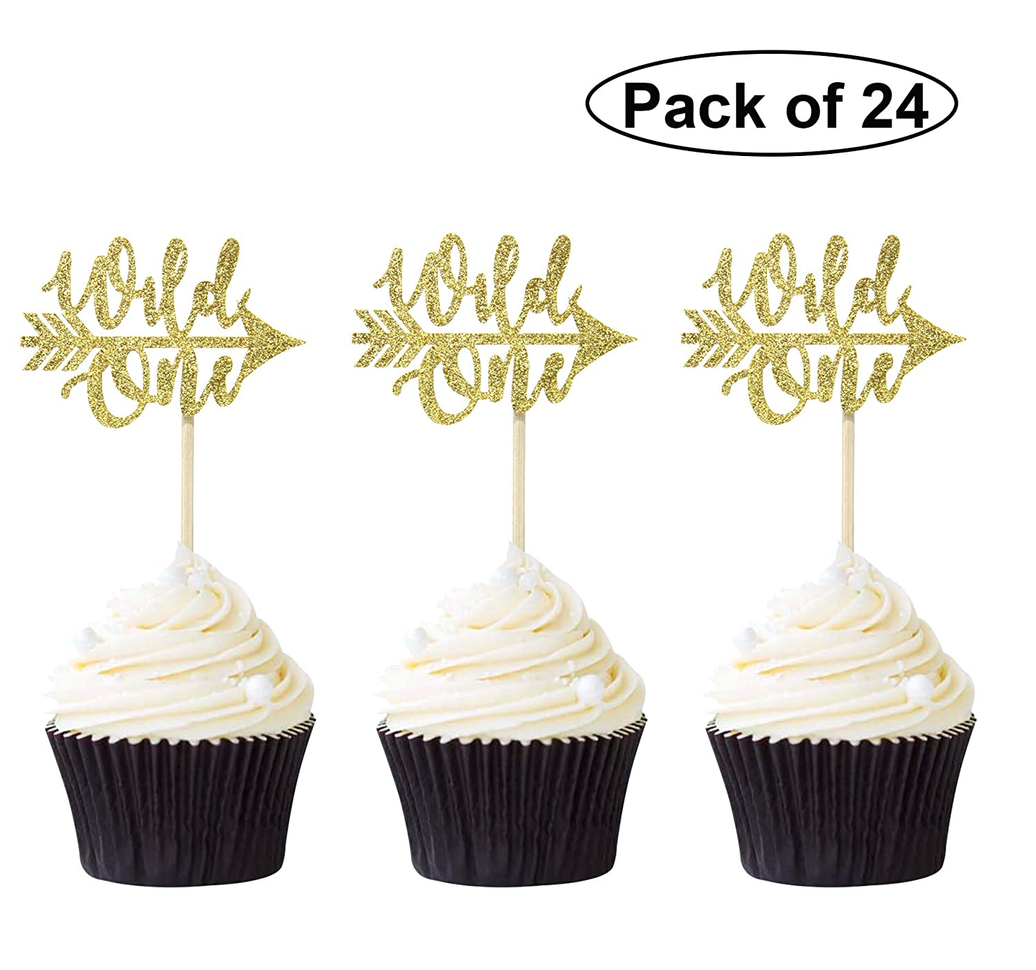 Newqueen 24PCS Black Glitter Wild One Cupcake Toppers Baby Shower 1st Birthday Party Cake Supplies
