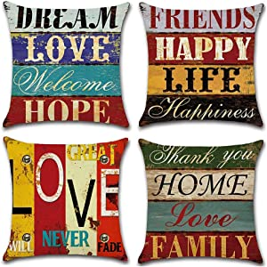 Gspirit 4PCS Pillowcases, Happy Life Decorative Couch Home Throw Pillow Covers Cotton Linen Square Cushion Cover for Sofa, Bed, Cafe, Car, 18x18 inches