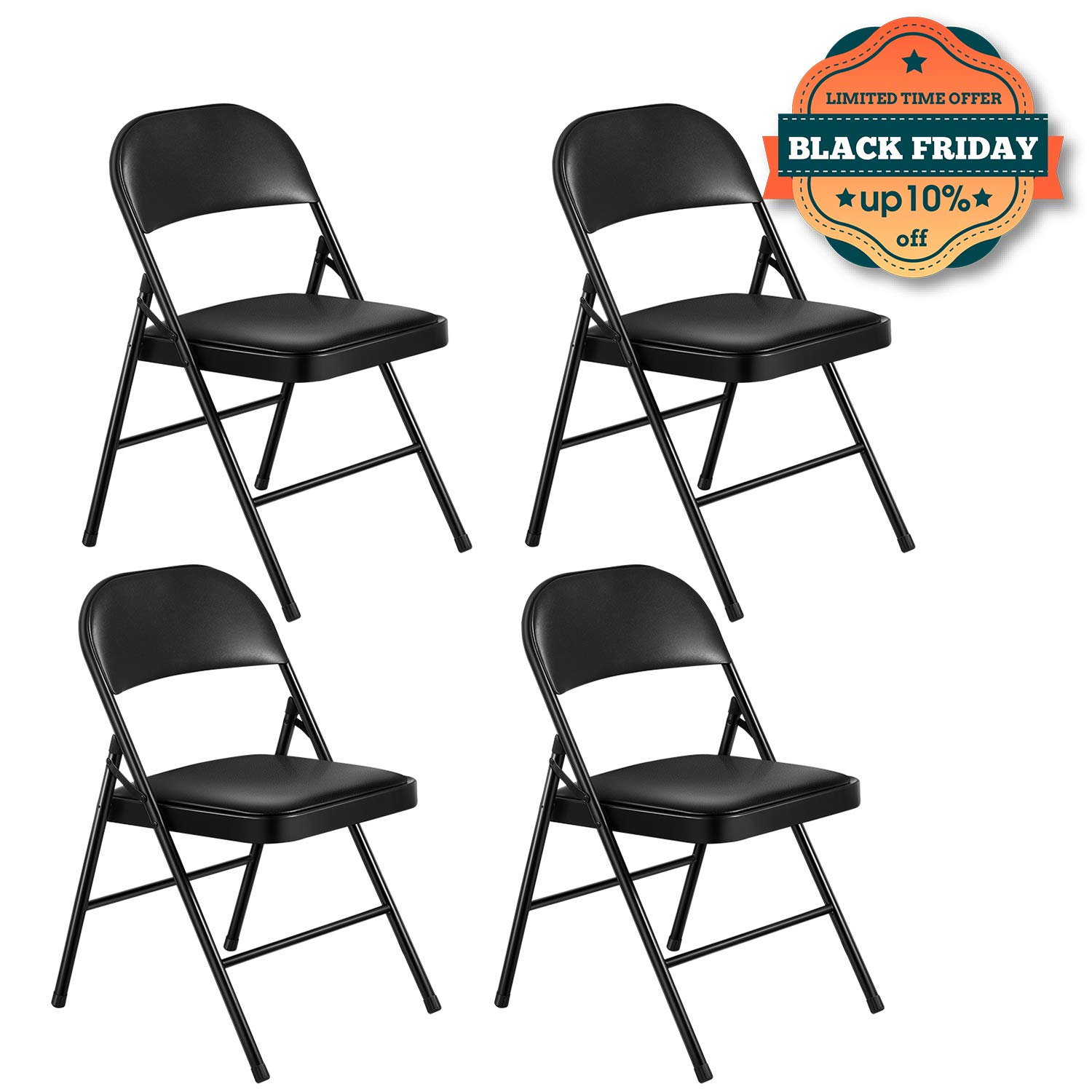 Kealive Folding Chair Steel Upholstered Padded Seat and Back 4 Pack Vinyl Padded Folding Chairs Stacked Double Hinged 480 lbs Weight Capacity, 4 Padded Dining Chairs Metal Frame, Black