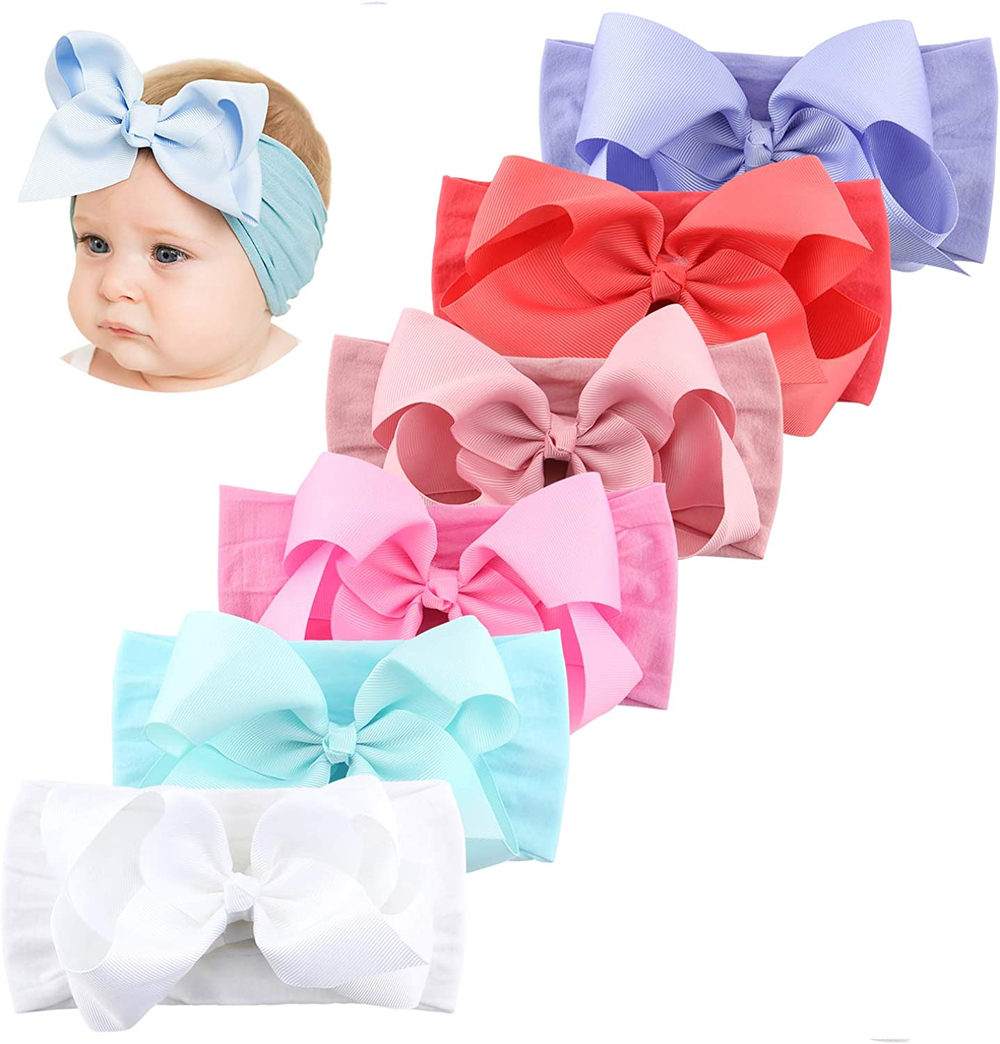 Makone Handmade Baby Nylon Headband with Big Hair Bows Stretchy Headbands for Infant Baby Girls
