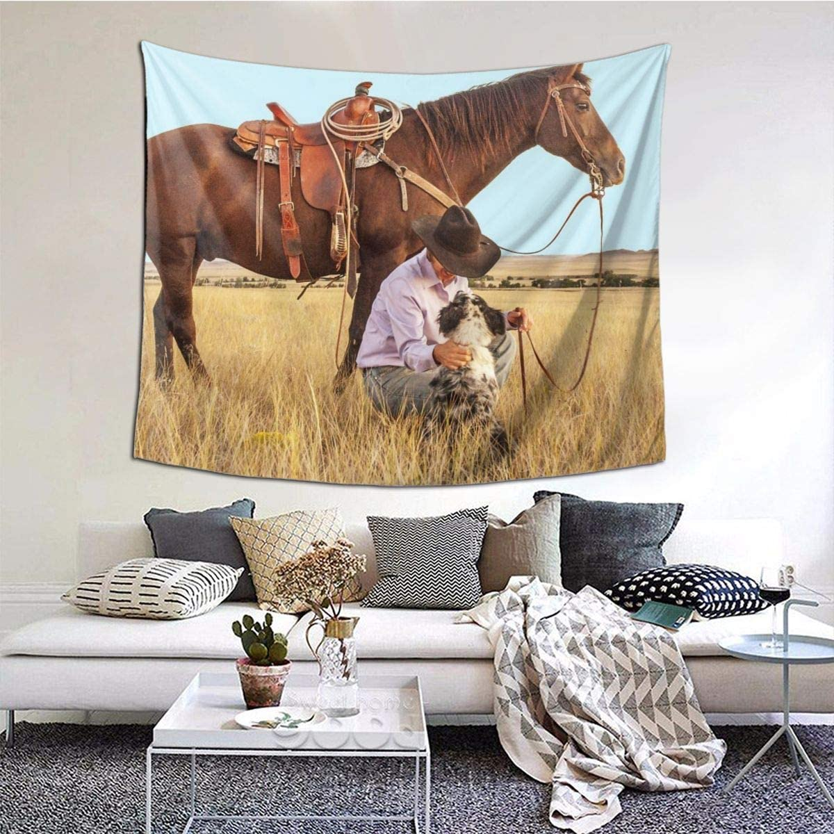 Amazon Com Ngff Cowboy Horse Dog Western Ranch Tapestry Wall Hanging Tapestries Home Decorations For Bedroom Living Room Dorm Party Decor Home Kitchen