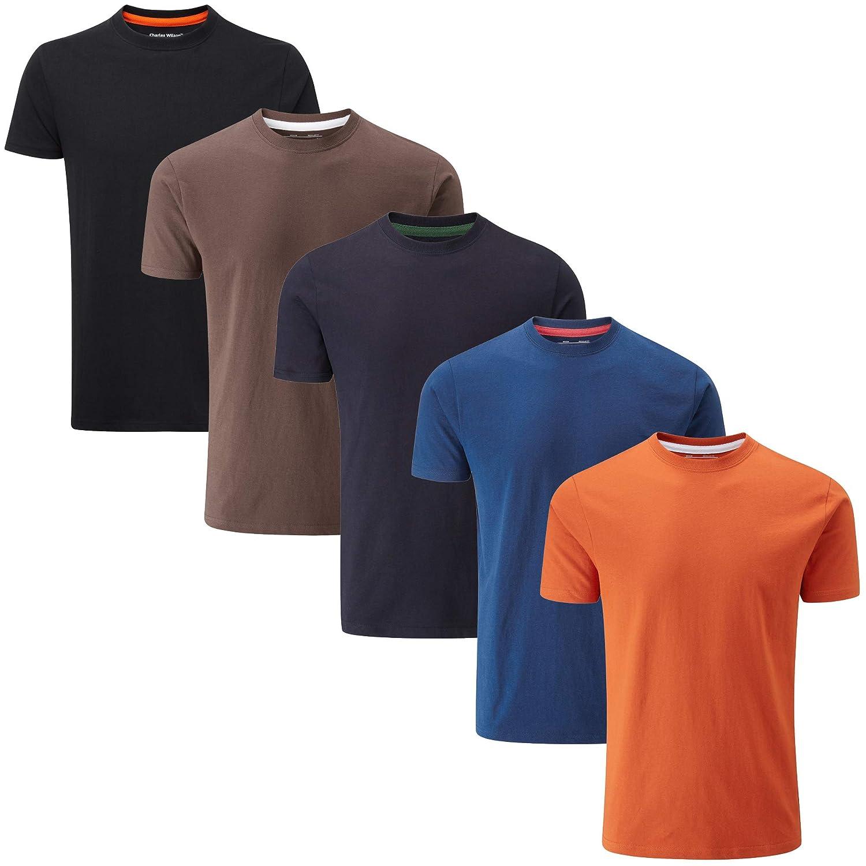 Charles Wilson 5er Packung Einfarbige T-Shirts mit Rundhalsausschnitt   Amazon.de  Bekleidung 2d3619dfa3