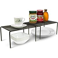 Dime Store Stackable Kitchen Cabinet and Counter Shelf Organizer   Multipurpose Pantry Bedroom Bathroom Storage Racks (2…