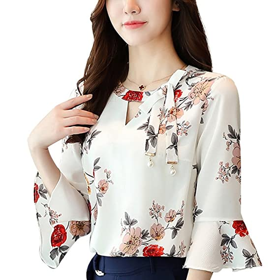 Beautface Makeup Blouses Blouse Women Tops Floral Print Shirts Three Quarter Flare Sleeves Chiffon Blusas at Amazon Womens Clothing store: