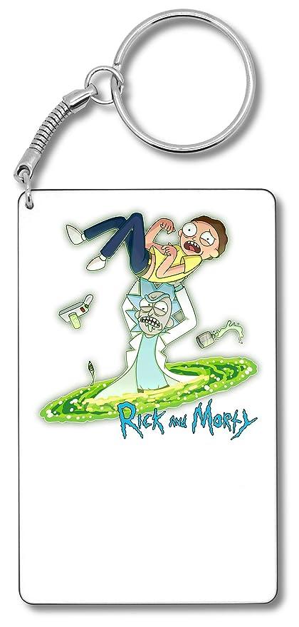 Rick Morty Blue Logo Crazy Rick Llavero Llavero: Amazon.es ...
