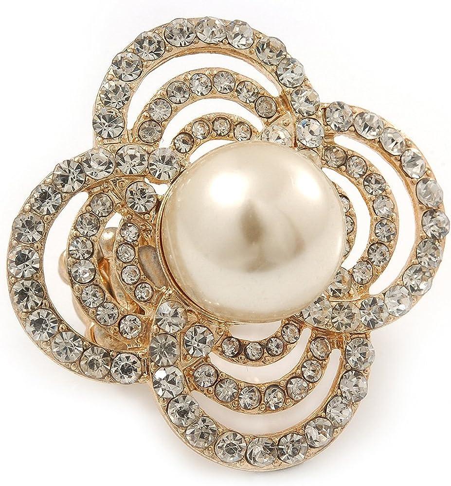 Diseño de vestido de fiesta grande, cuatro de cristal de pétalos, ' Diseño de flores' perlas de imitación anillo elástico con una tira en bañados en oro - 40 mm a lo largo de la Tamaño 6 - / 7