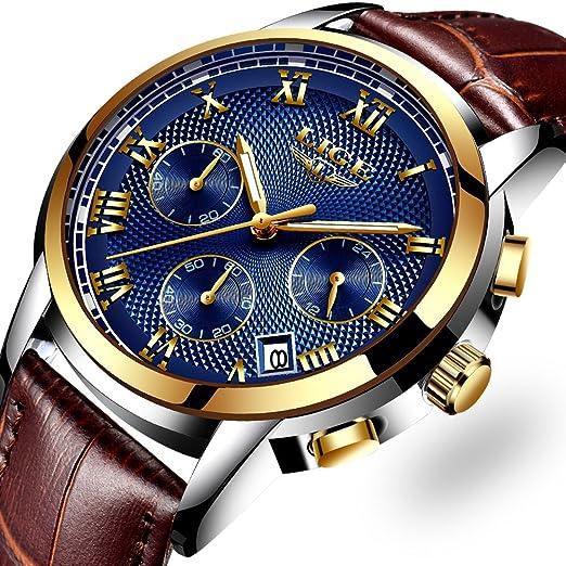 LIGE Relojes Hombre Relojes de Cuarzo Cuero Marrón la Correa Impermeable Cronógrafo Deportivos Relojes de Pulsera para Hombre Azul: Amazon.es: Relojes