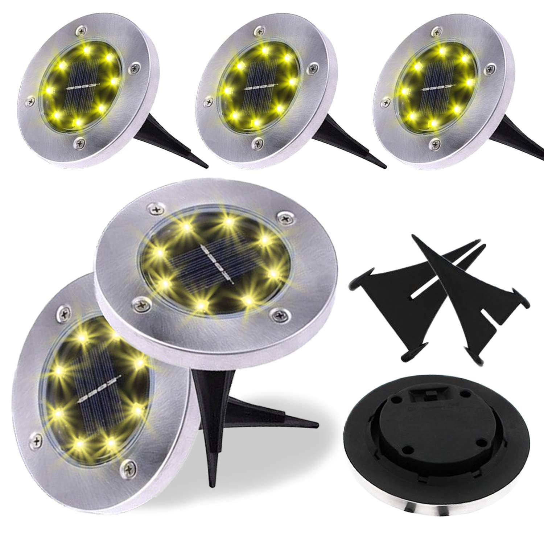 ZFLTEI Solar Ground Waterproof Lights,Garden Pathway Outdoor in-Ground Lights with 8 LED (6 Pack) Warm White Lights