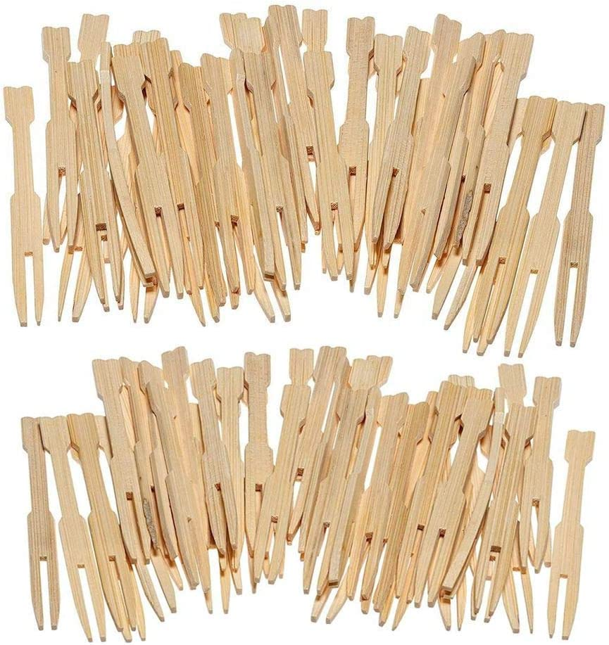 240 Pack Bamboo Forks, Two Prongs - 3.5 Inch Blunt End Toothpicks for Party, Banquet, Buffet, Catering, and Daily Life
