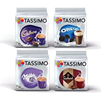 Tassimo Hot Chocolate Bundle - Capsulas de Cadbury, Oreo, Milka, Suchard - Paquete de 4 (40 porciones)