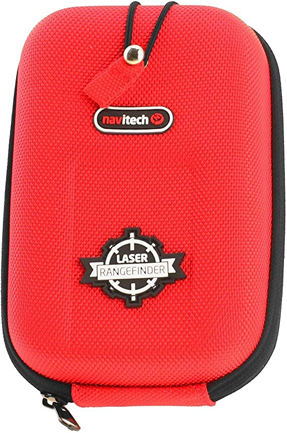 Navitech Red EVA Rangefinder Hard Case/Cover with Carabiner Clip Compatible with The Bushnell Pro XE Rangefinder