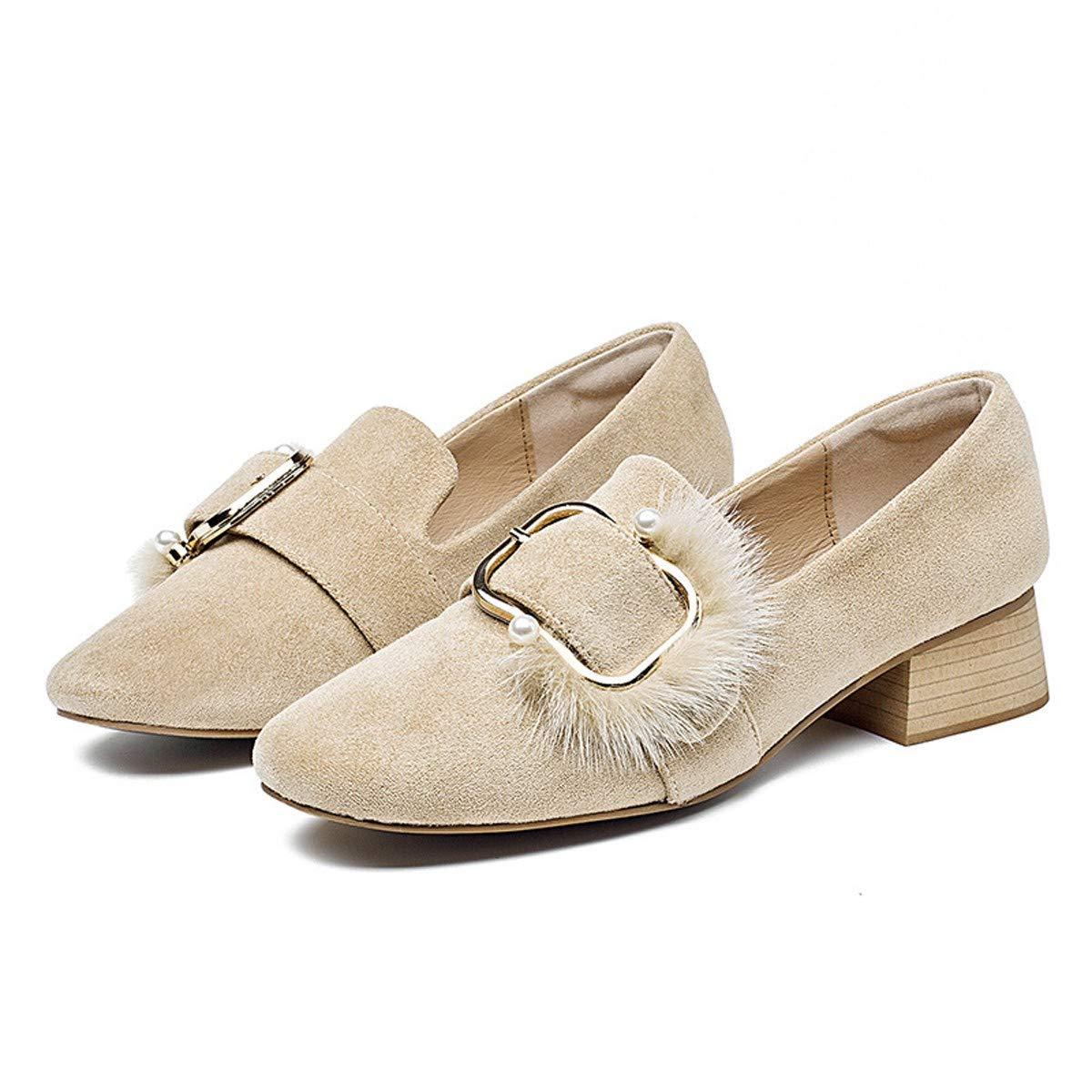 HBDLH Damenschuhe Mitte - Bei Dicken Betuchte Einzelne Schuhe Herbst Der Mund Wildleder Gute Schuhe Platz Zu Damenschuhe Aprikosen 34