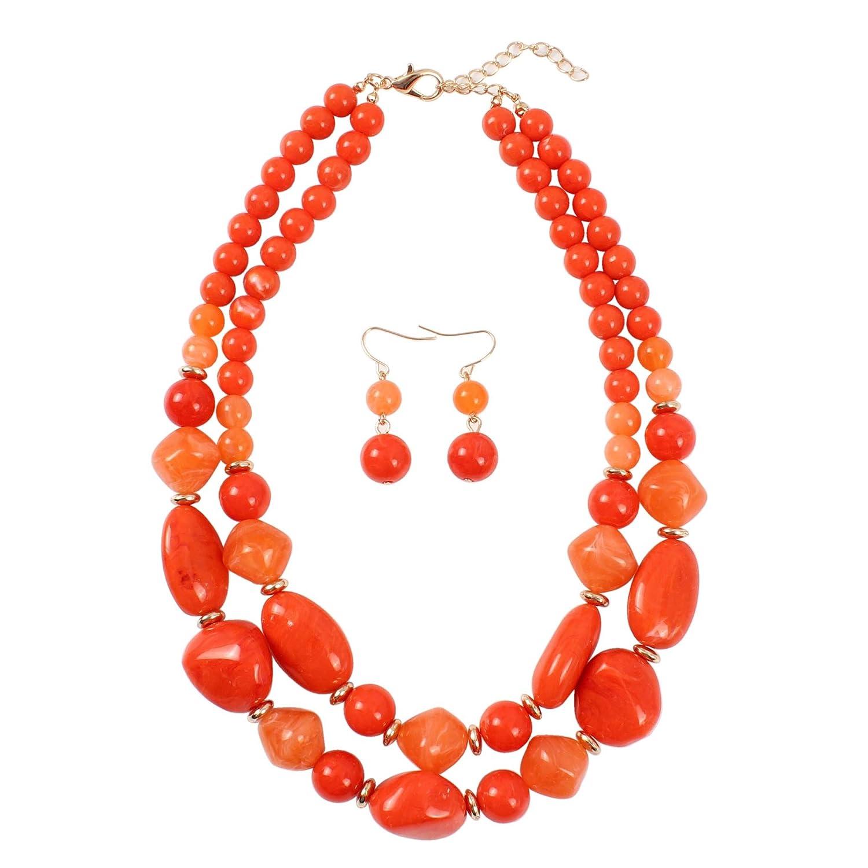 KOSMOS-LI 2 Layer Statement Chunky Resin Beaded Fashion Strand Necklaces for Women Gifts Ltd. 8310BK