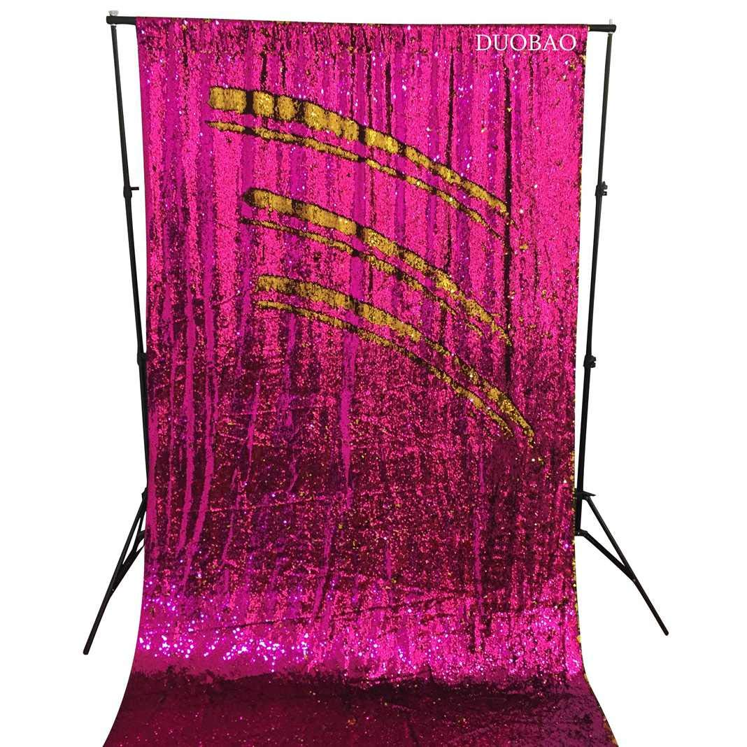 DUOBAO Sequin Backdrop 8Ft Mermaid Sequin Curtains Fuchsia to Gold Reversible Shimmer Backdrop 6FTx8FT Sparkle Photo Backdrop