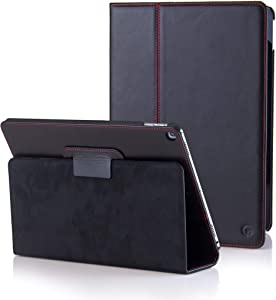 CASEMADE iPad 9.7 inch Real Leather Case (5th/6th Generation 2017/2018) - Premium Luxury Italian Slim Cover/Smart Folio with Dual Stand and Auto Sleep/Wake (Black)