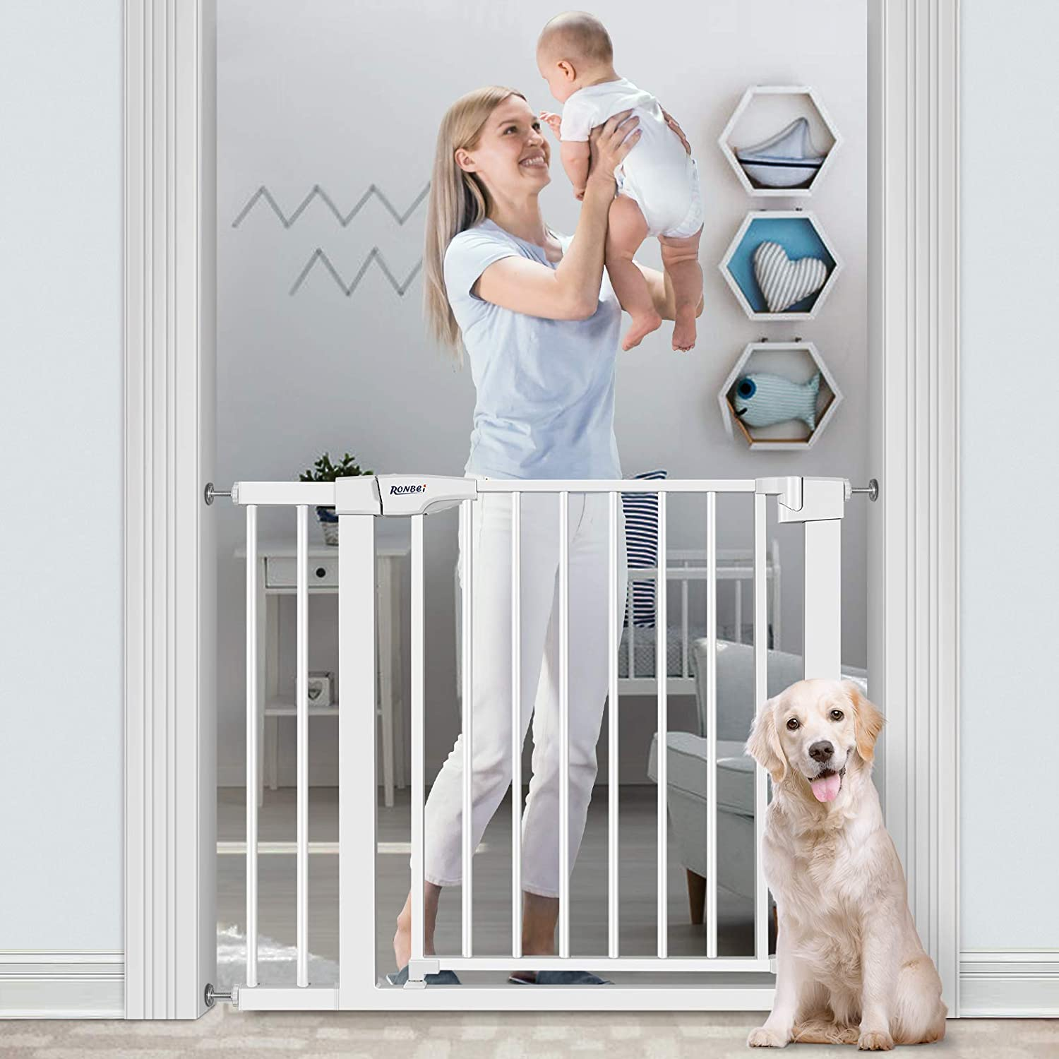1 Wrench-Black 29.53-37.8// 29.53-32.28 Auto Close Indoor Child Gates for Kids//Dogs Easy Walk Thru Safety Gate with 5.5 Extension,4 Mounting Kit RONBEI Baby Gate for Stairs and Doorways