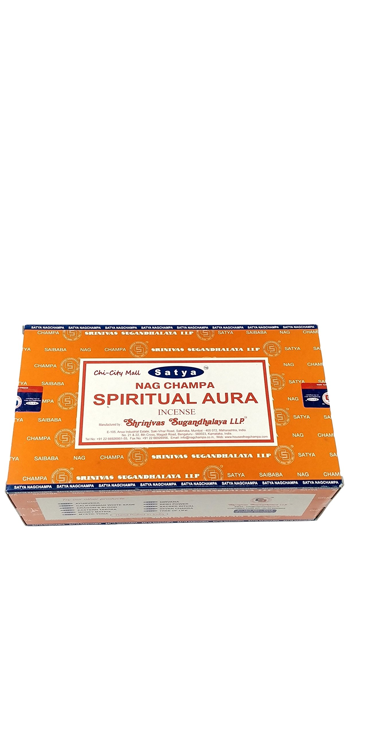Chi-City Mall Satya Nag Champa Spiritual Aura Incense Sticks | Signature Fragrance | Net Wt: 15g x 12 boxes = 180g | Exclusively Made in India | Export Quality | Handrolled Non-Toxic Incense