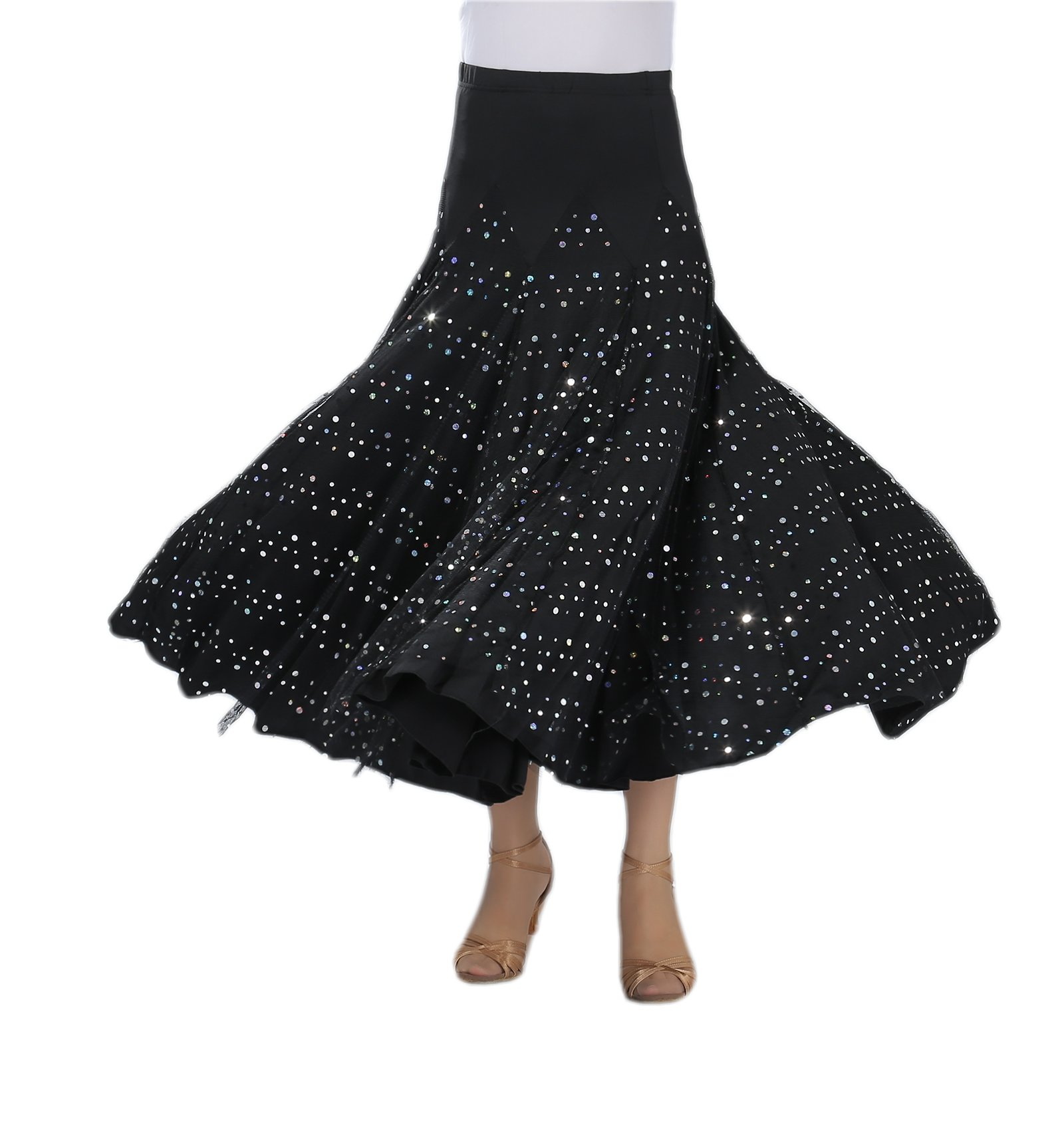 CISMARK Elegant Sequin Long Swing Ballroom Waltz Dance Skirt for Women Black