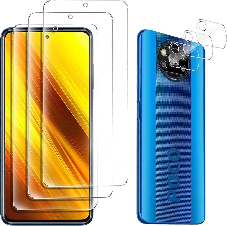 GESMA para Xiaomi Poco X3 NFC Protector de Pantalla (3 Piezas) + para Xiaomi Poco X3 NFC Protector de Lente de Cámara (3 Piezas), Cristal Templado de HD Anti-arañazos
