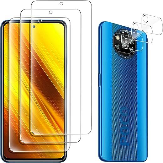GESMA 3 Piezas Protector de Pantalla Compatible con Xiaomi Poco X3 NFC, 3 Piezas Protector de Lente de Cámara Compatible con Xiaomi Poco X3 NFC, Cristal Templado de HD Anti-arañazos