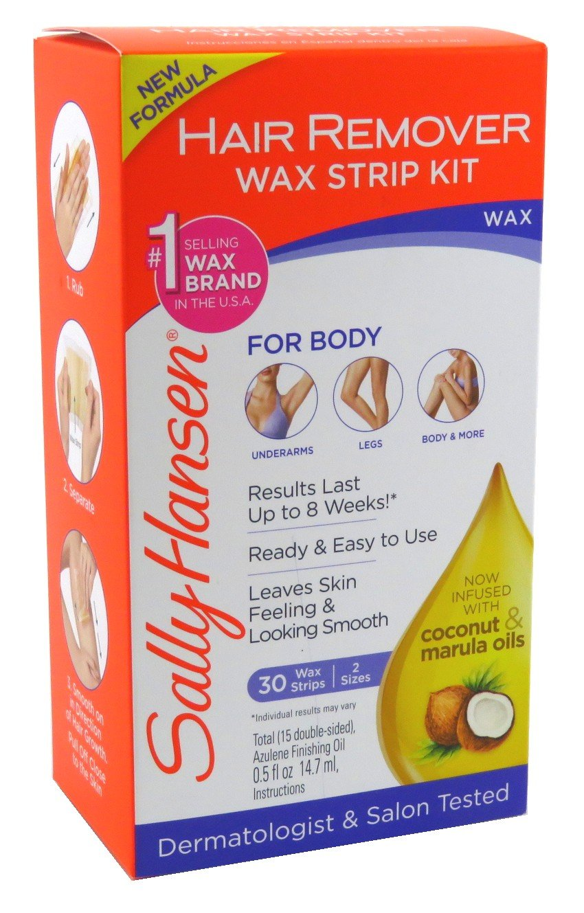 Sally Hansen Quick and Easy Hair Remover Wax Strip Kit for Under Arms Legs and Body for Women, 1 Pack 7484