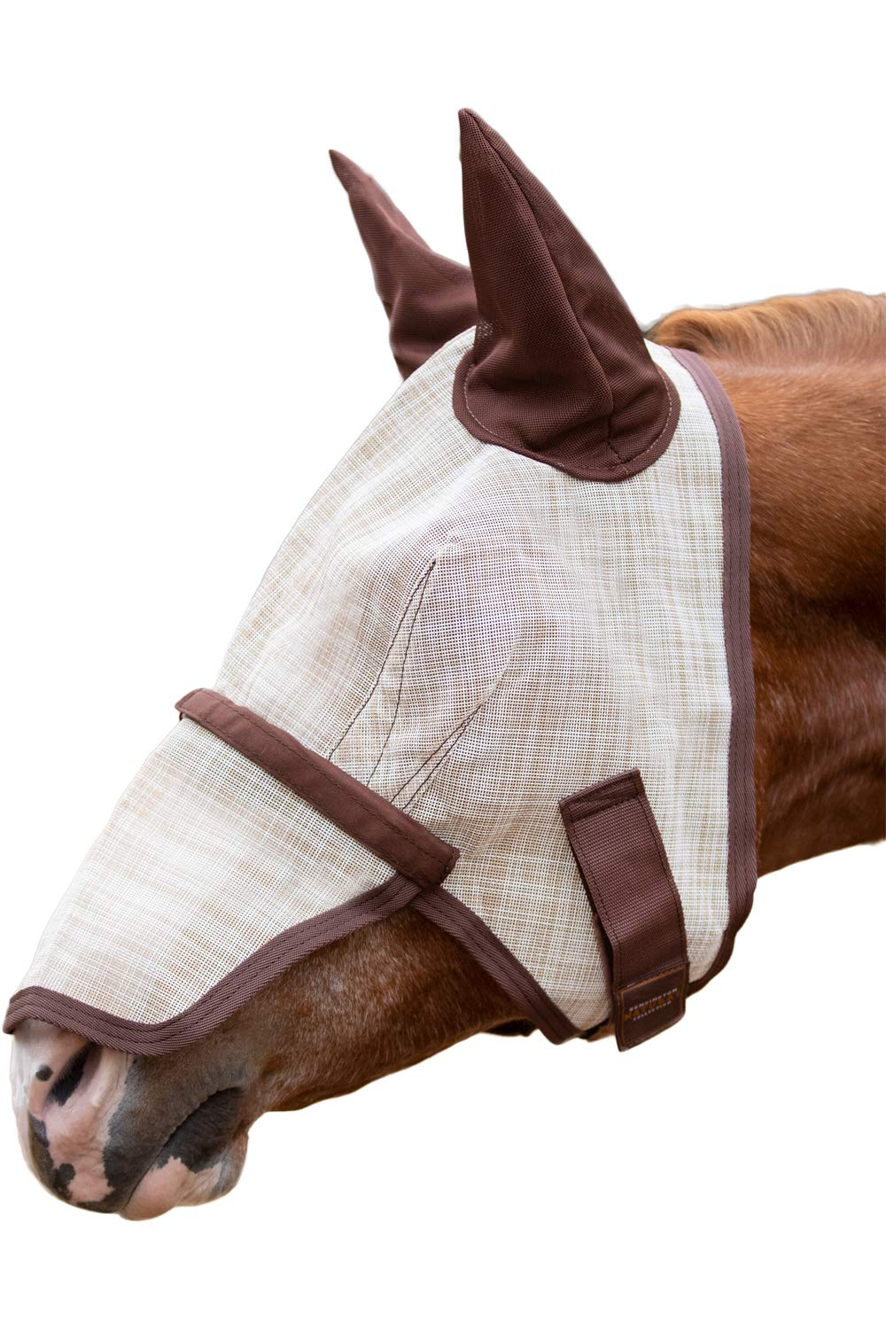 Kensington Signature Fly Mask with Removable Nose and Soft Mesh Ears - Protects Horses Face, Nose and Ears from Biting Insects and UV Rays While Allowing Full Visibility (M, Grey) by Kensington Protective Products