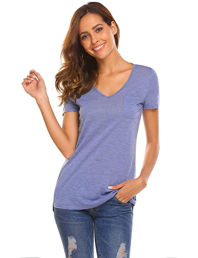 2316ebf5128cd UNibelle Women Comfy Loose Fit Short Sleeve V Neck Lightweight Cotton T  Shirt Top Tee with Pocket at Amazon Women s Clothing store