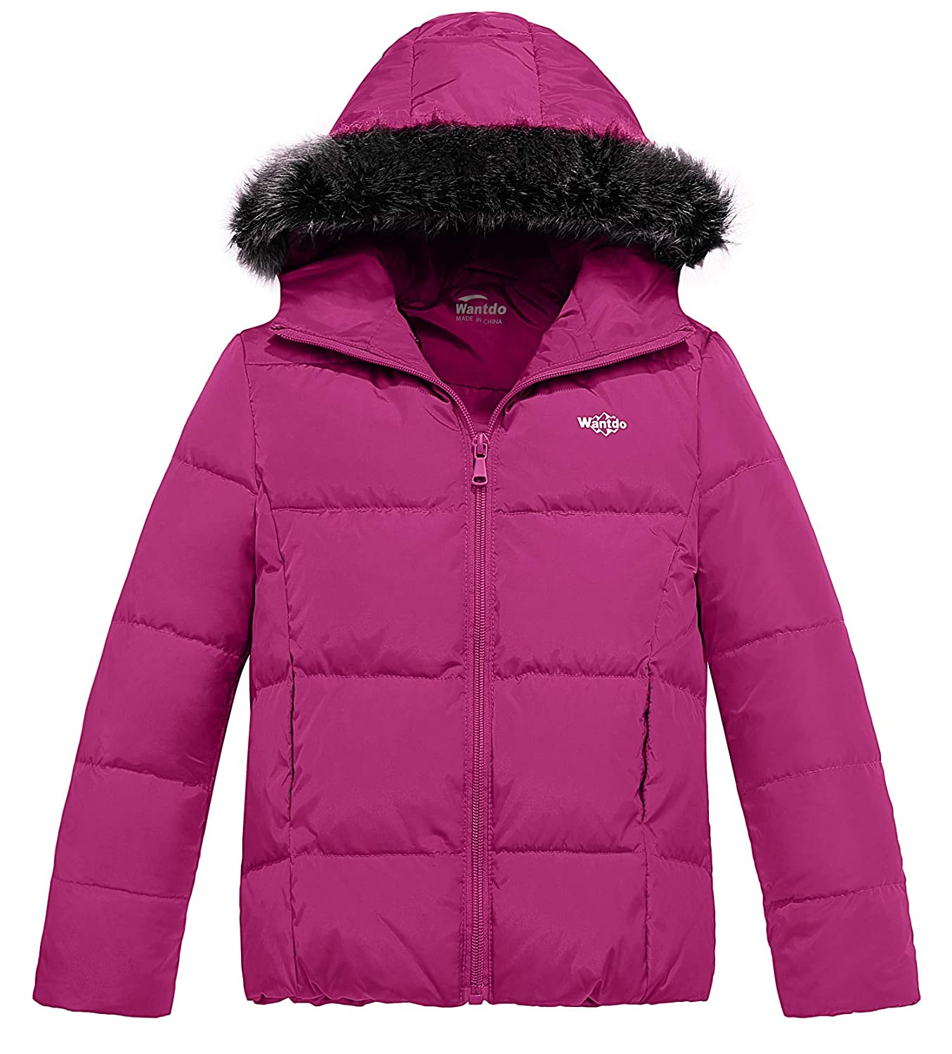 Wantdo Girls Down Jacket Lightweight Winter Coat with Faux Fur Collar Hooded Puffer Jacket