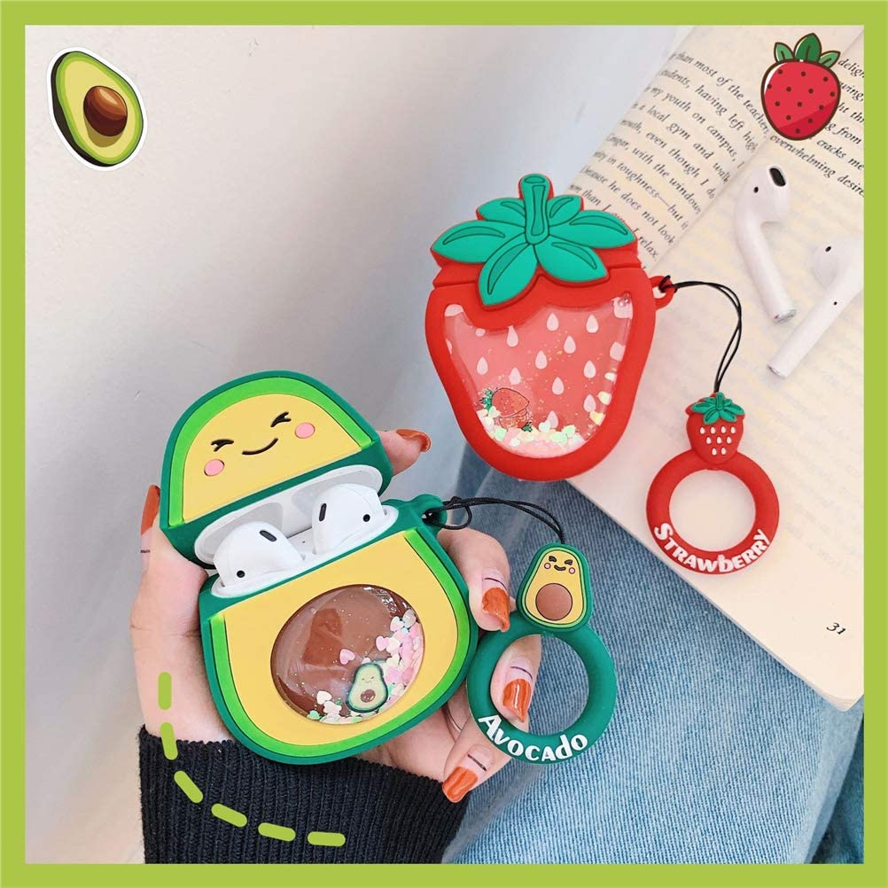 Silicone Cover Compatible for Airpod 2//1 Cute Funny Cartoon Fruit Character Silicone Quicksand Avocado /& Strawberry Airpod Pro Case