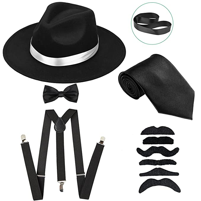 1920s Gangster Costume- How to Dress Like Al Capone ZeroShop Mens Roaring 1920s Set Manhattan Fedora HatY-Back Suspenders & Pre Tied Bow Tie Gangster Tie & Fake Mustache $16.99 AT vintagedancer.com