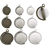 Mixed Rotation Double Side Round Blank Bezel Pendant Trays Base Cabochon Settings Trays Pendant Blanks Jewelry Making DIY Findings M135 (9pcs Mixed)