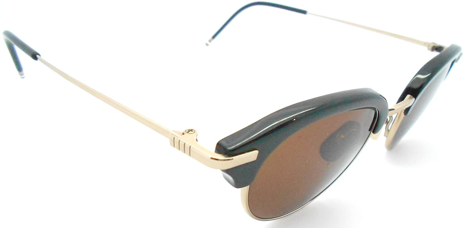 0fab000d4658 Amazon.com  Thom Browne TB-706 A Black 18k gold Half-rim Sunglasses   Clothing