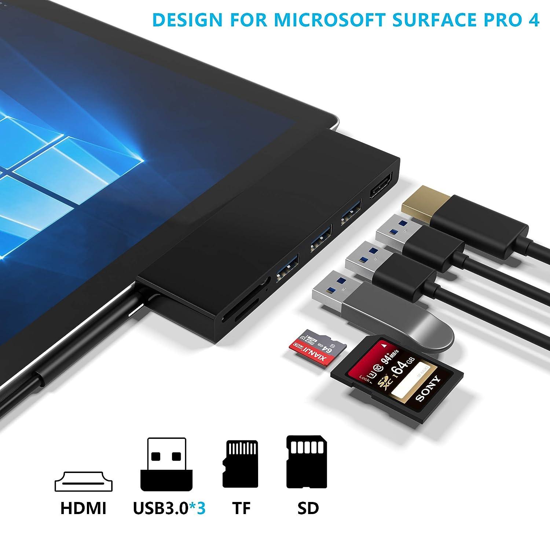 Port Ethernet + Mini DP vers HDMI Cateck Station d/'Accueil Double concentrateur pour Microsoft Surface Pro/4 5 GPS Lecteur de Cartes m/émoire SD/&TF Comprend/: 3Port USB/3.0