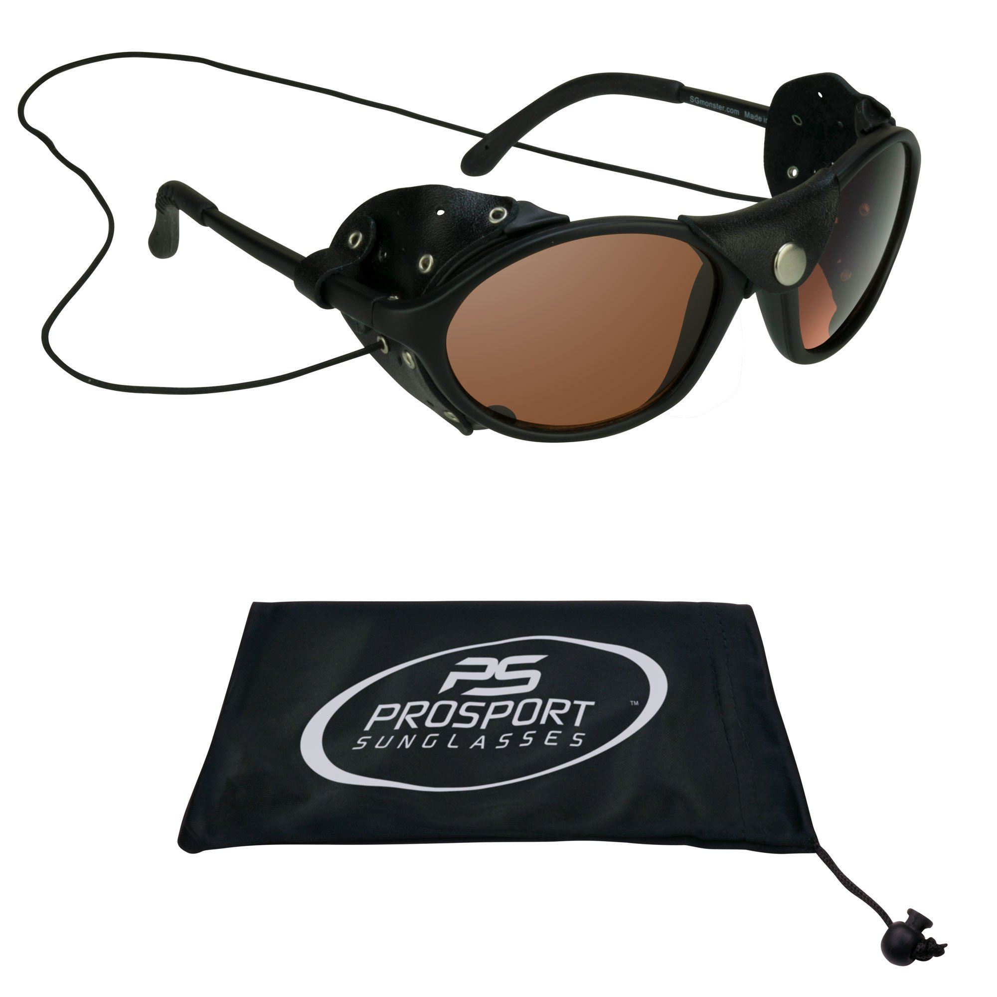Glacier Sunglasses Leatherette Side Shields for Motorcycle Mountaineering Ski, HD Blue Bloker Lenses, Neck String