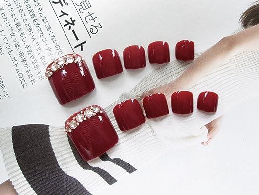 Mimei 24PCS Uñas Postizas Pies, Uñas Postizas Niña Rojos con Cristal: Amazon.es: Belleza