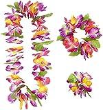 Widmann 9136W-Juego hawaiano Maui compuesto de collar, corona y pulsera, talla única