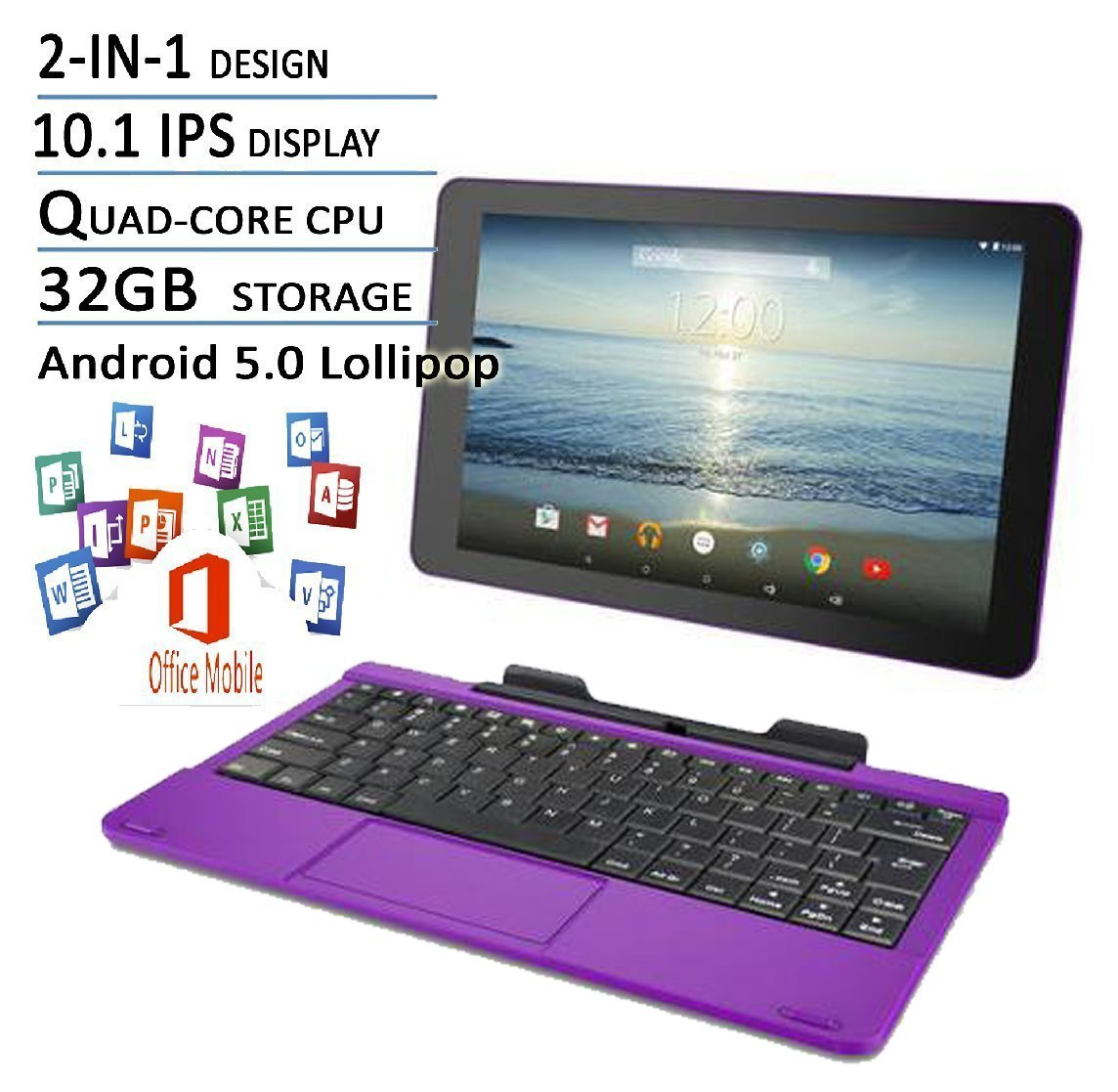 RCA Viking Pro Purple Edition 10 1 Touchscreen 2 In 1 Tablet Laptop,  Detachable Keyboard, Free Office Moblie APP, Quad-Core Processor,32G  storage, IPS
