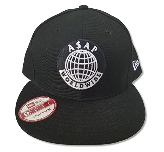 d5112dd5b161f Image Unavailable. Image not available for. Color  ASAP Worldwide Globe  Logo Black Hat Cap A AP Mob
