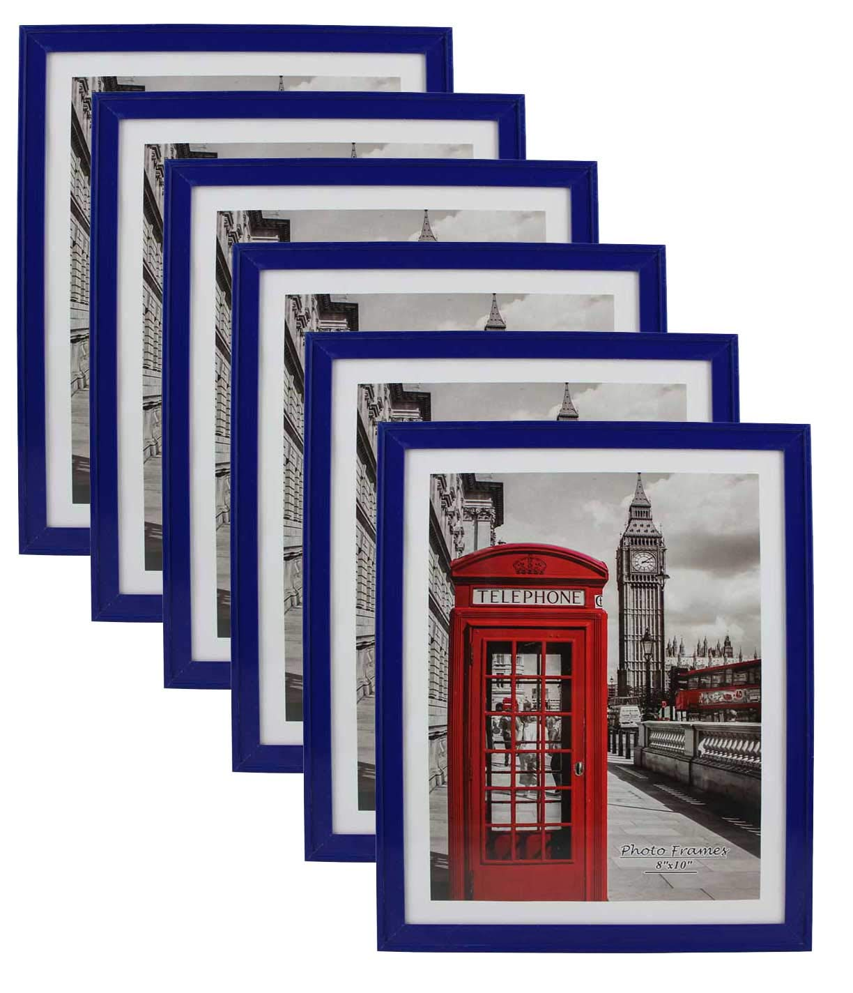 PP Modern Collection Photo Frame Navy Blue Plastic (8'' X 10'') (6pk) Stand Vertical Or Horizon Tabletop and Wall Mount Colourful Picture Frame