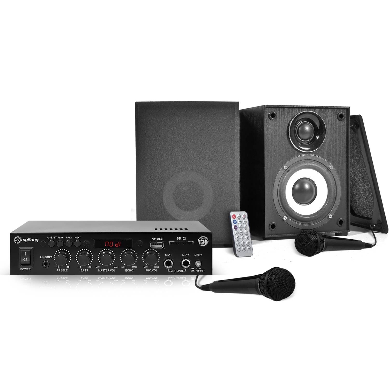Kit KARAOKE - Ampli 2x50W + 2 Enceintes HiFi 4 + 2 Micros + Tél - MY SONG KARAOKE MyDJ