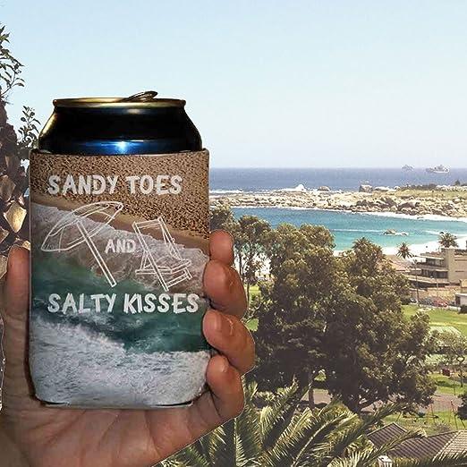 Beer Huggers Beverage Insulators Sandy Toes and Salty Kisses Wedding Can Cooler #17 Bridal Wedding Favors Custom Beach Wedding