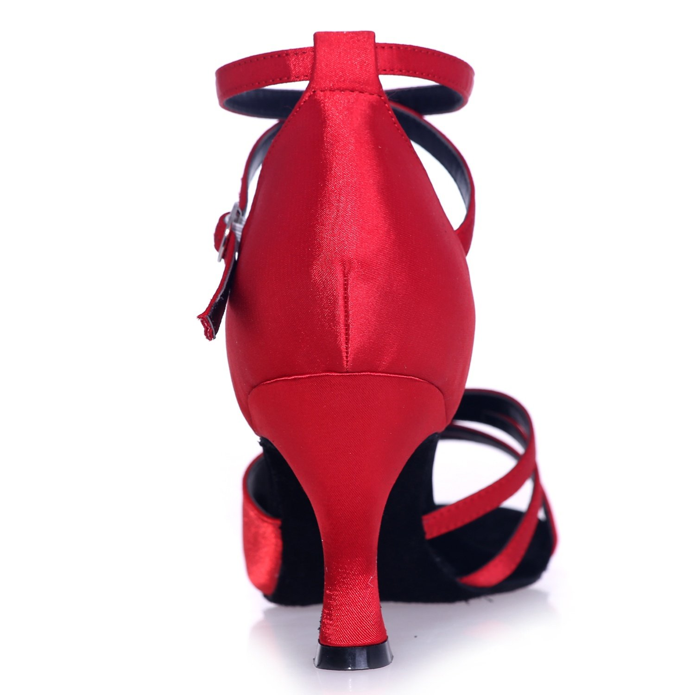 Elobaby Scarpe da Ballo da Donna con con con Plateau Personalizzato Sandali in Raso Peep Toe Slip On Prom   7,5cm Heel 126b70
