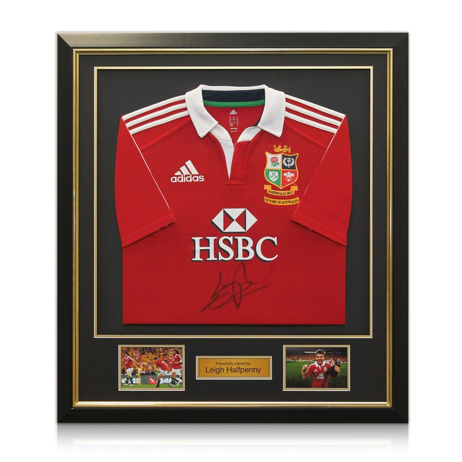 858ddcc9 Deluxe Framed Leigh Halfpenny Signed British Lions Rugby Shirt With ...