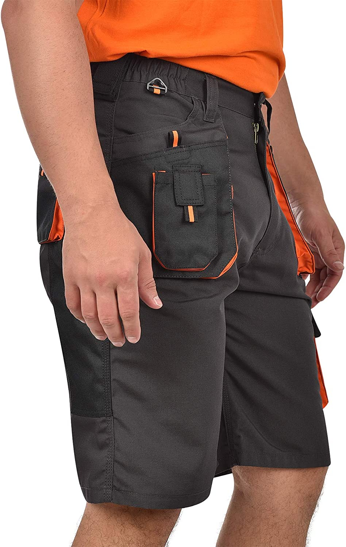 BWOLF Atlas reforzados con poli/éster 600D color gris//naranja cl/ásicos Pantalones cortos de trabajo para hombre bolsillos multifuncionales