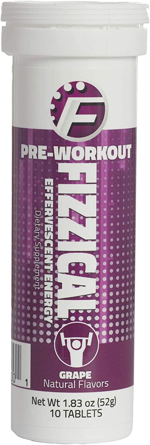 Fizzical Pre Workout Tablets – Fuels Your Workout – Aids in Muscle Performance – Caffeine from Green Tea – Grape Flavor – Perfect Booster for Hard Exercises – 10 Tablets, 1.83 oz 51 g – Pack of 12