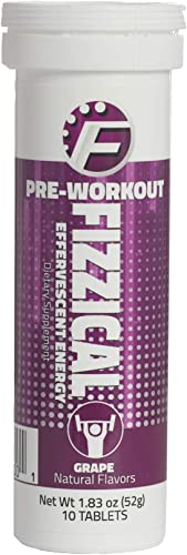 Fizzical Pre Workout Tablets – Fuels Your Workout – Aids in Muscle Performance – Caffeine from Green Tea – Grape Flavor – Perfect Booster for Hard Exercises – 10 Tablets, 1.83 oz 51 g – Pack of 1